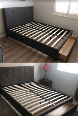 Brand New Full Size Grey Linen Upholstered Platform Bed Frame w/Storage Drawer for Sale in Silver Spring,  MD
