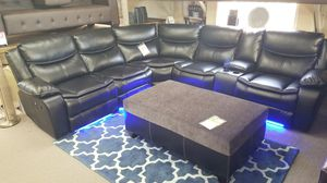 New, Black or Brown Recliner Sectional with LED Lights for Sale in San Diego, CA