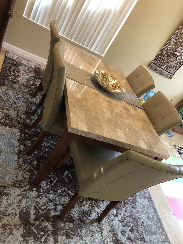 Real marble dining table with chairs