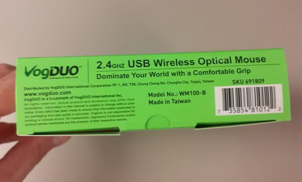 New! VogDuo WM100-B Wireless Optical Mouse, Black