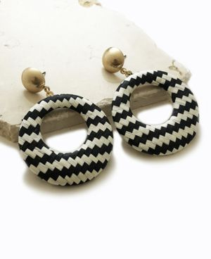 Herringbone checkered stud hoop earrings striped dangle black white gold for Sale in Woodbridge, VA