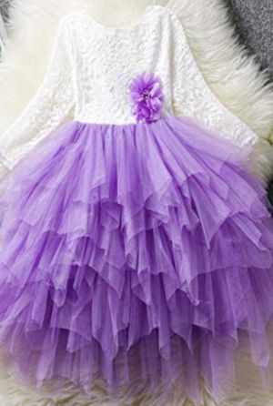 New! White Lace Tutu Ruffle Pageant Bridal Party Purple Dress - 5/6 Kids for Sale in Howell, MI