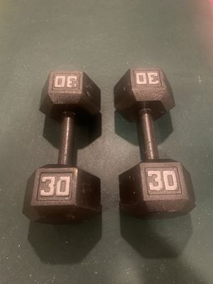 Used 30 lbs Metal Dumbbell Set (60 lbs total) <$1.70 a lb for Sale in Chantilly, VA
