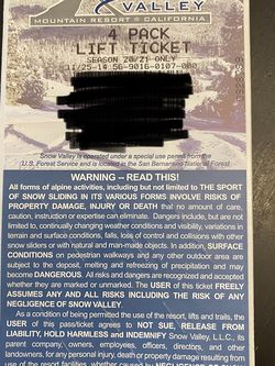 Snow Valley Lift Tickets for Sale in Monterey Park,  CA