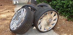 24 inch Azara chrome rims for Sale in Mableton, GA