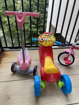 Cute and Clean Kids Tricycle, Scooter, Toy Bike and Helmet for Sale in Herndon, VA
