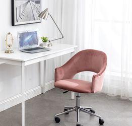 Rose Gold Vanity Chair Pink Office desk Rolling Task Chair Velvet Vanity Chair for Sale in La Habra,  CA