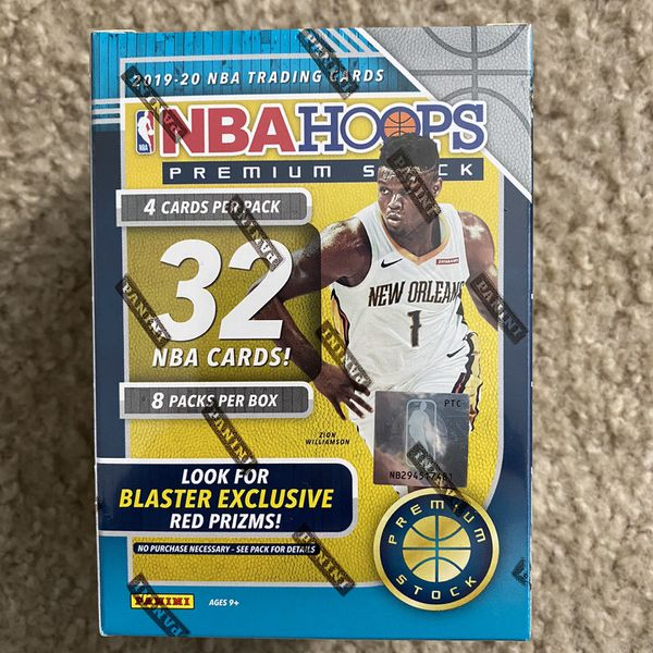 2019-20 NBA Hoops Premium Stock Trading Cards Blaster Box