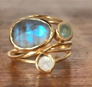 Unique 14K gold labradority & moonstone agua blue shell ring. for Sale in Homestead, FL