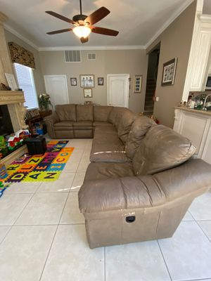 La-Z-Boy leather couch with recliners and queen sofa bed for Sale in Sanford, FL