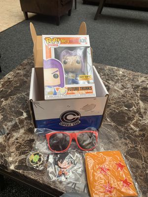 BELOW RETAIL Mint condition Funko pop dbz dragonball z future trunks capsule Corp box for Sale in Chicago, IL
