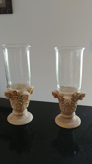 Corinthian plaster and crystal column candle holders. Candelabros columna corintia yeso y cristal. for Sale in Miami, FL