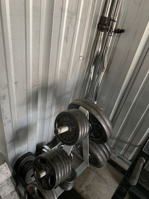 265lb standard weight set w/ tree & bars for Sale in Parker, CO