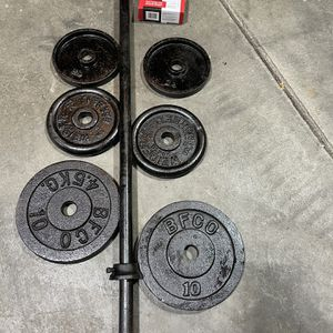 5ft Steel Bar With Quality Weights for Sale in West Lake Stevens, WA