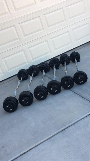 60lb - 110lb IGX Pro-Style Fixed Weight Rubber EZ Curl Bars for Sale in Las Vegas, NV