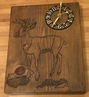 Handmade Wooden Deer Clock for Sale in Anderson, SC