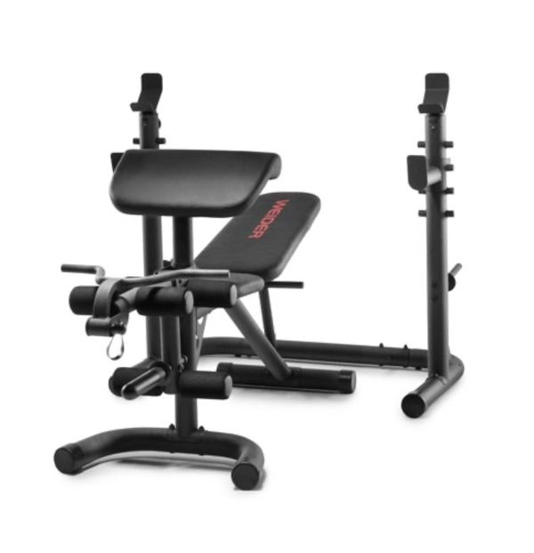 Weider XRS 20 Olympic Workout Bench with Independent Squat Rack and Preacher Pad. Workout equipment