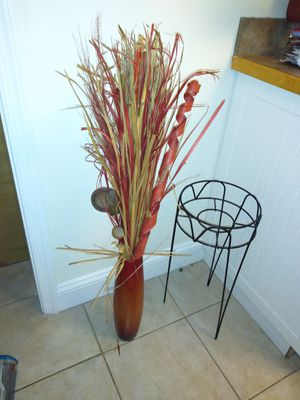 Red vase & flower pot stand for Sale in Norfolk, VA