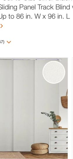 Movie Night Cut-to-Size Silver Blackout Adjustable Sliding Panel Track Blind with 23 in Slats Up to 86 in. W x 96 in. L by Chicology for Sale in Reynoldsburg,  OH