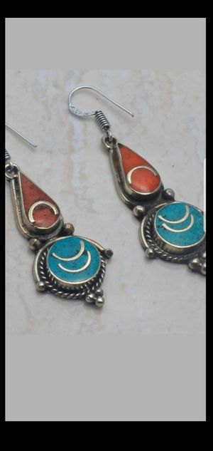 Sterling silver Tibetan handmade turquoise and coral earrings NEW for Sale in Round Rock, TX