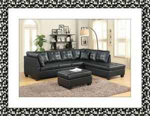 Black sectional with free ottoman and delivery for Sale in Gambrills, MD