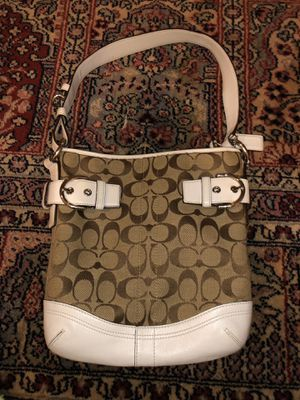 COACH C SIGNATURE LOGO SHOULDER HAND BAG BROWN & WHITE LEATHER - NO. L05M-3577 for Sale in Chesterfield, MO