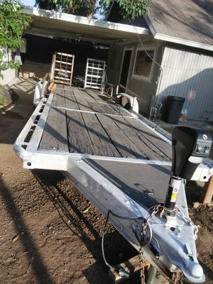 "Car hauler trailer deck size is 27' x6'10"" brake system electric jack heavy duddy home made $2500 for Sale in Redlands, CA"