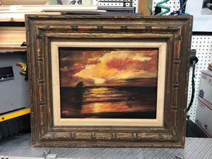 """Original oil painting on board red ocean sunset seascape framed vintage 16x12"""" board with frame 25x21"""" for Sale in Los Angeles, CA"""
