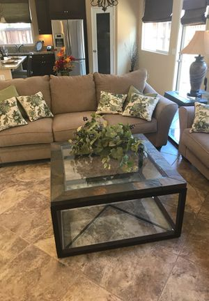 Two sofas with large coffee table / end table and lamp for Sale in Wildomar, CA