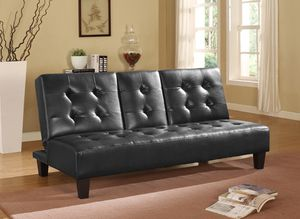 Faux Leather Tufted Futon with Cupholders, Black for Sale in Downey, CA