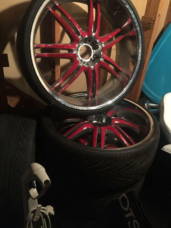 """5 26"""" rims & tires."""