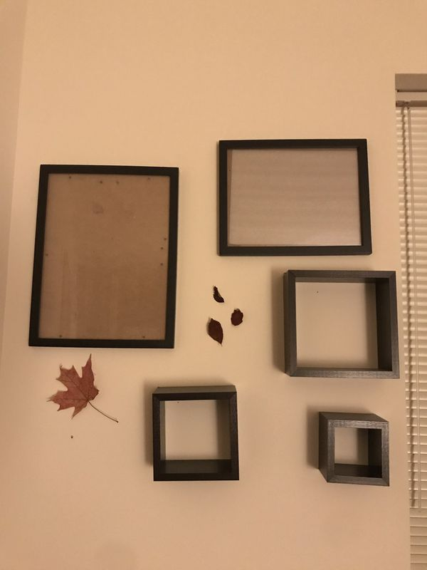 2 picture frames + 3 wall shelves