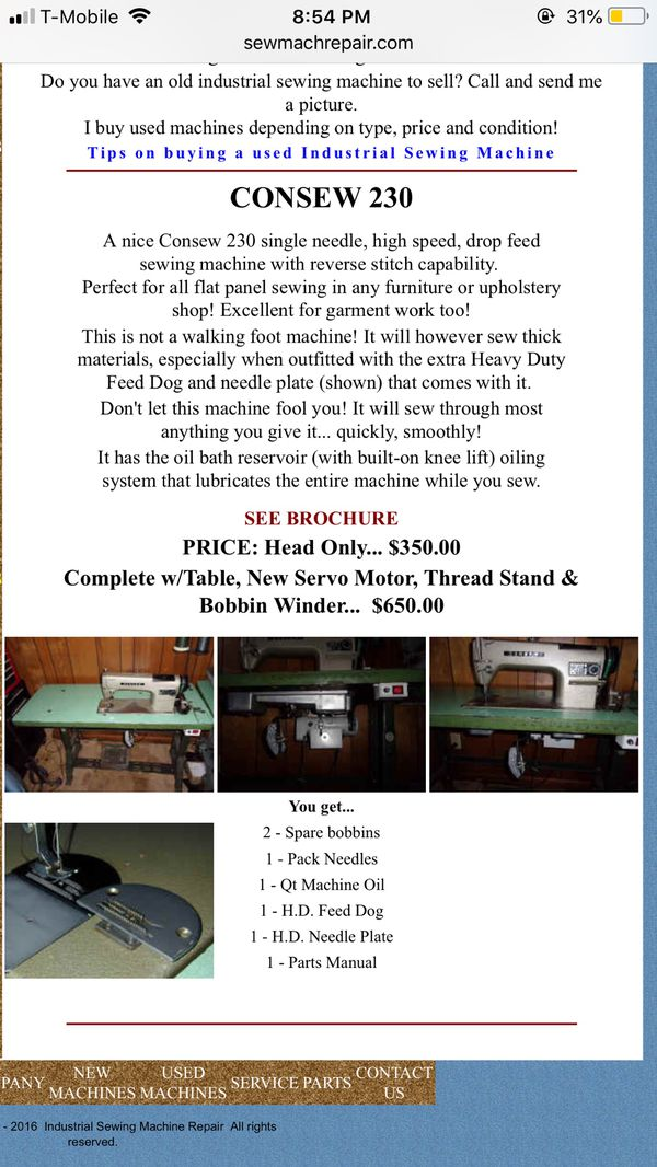 Consew 230 Industrial Sewing Machine for Sale in Hialeah, FL - OfferUp