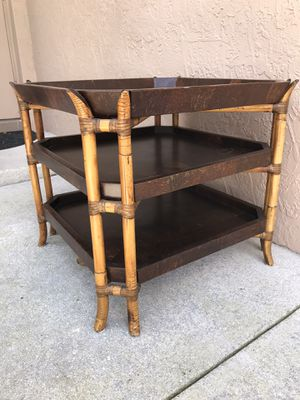 Bamboo tier shelves side end table microwave stand 25.5x25.5 height 22.5 for Sale in Davie, FL