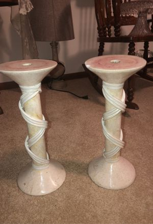 """2 Matching Renoir Designs 14"""" Crackled White Archaic Pillar Ceramic Candle Stick Holders with Twisted White Wood around Them for Sale in Plainfield, IL"""