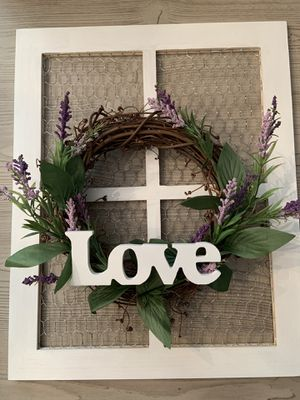 Farmhouse frame with lavender wreath for Sale in Lake Worth, FL