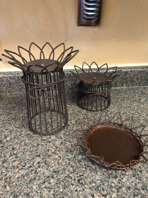 Set of 3 metal candle holders. for Sale in Seven Hills, OH