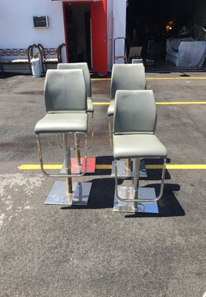 Barstools-Set of 4 Square Chrome Base-Grey-Some wear-Commercial Quality-Restaurant/Bar-Discounted-Little Haiti Warehouse Liquidation-Bryce LeVan Cush for Sale in Miami, FL