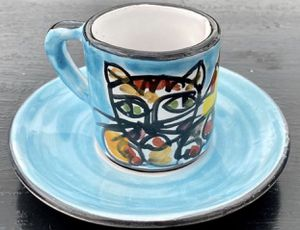 Handpainted Glazed Porcelain Cat Lovers Coffee Cup Mug & Saucer for Sale in Chapel Hill, NC