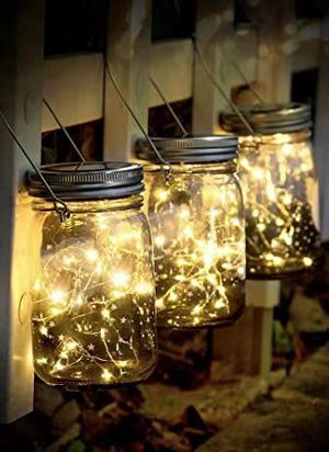 NEW 3 FOR $10 Solar 20 LED Mason Jar Landscaping Garden Party Centerpiece Wedding Decor Dinner Decoration with 3x5 Inch Jar Warm White 20 Hours Full for Sale in Los Angeles, CA