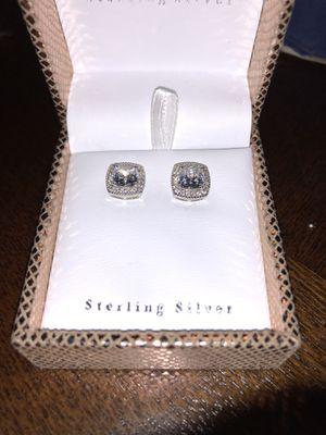 Silver Earrings w/ Lab Diamonds for Sale in Decatur, GA