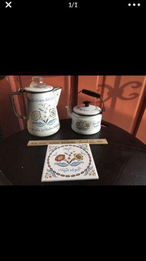 Vintage Swedish tea pot coffee pot trivet matching set for Sale in Portland, OR