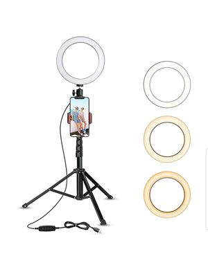 """8"""" Selfie Ring Light with Tripod Stand & Cell Phone Holder for Live Stream/Makeup, UBeesize Mini Led Camera Ringlight for YouTube for Sale in Bakersfield, CA"""