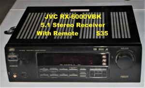 JVC RX-6000VBK 5.1 Stereo Receiver with remote for Sale in Modesto, CA