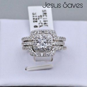 S925 Princess Cut Wedding Ring Set Size 6 SRC15946 for Sale in Fresno, CA