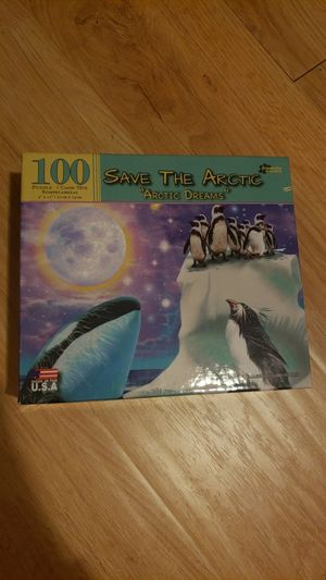 "100 piece Puzzle, cute ""save the arctic"" and basketball binder game for Sale in Oakland, CA"