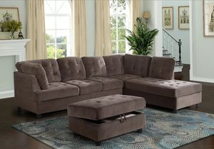 New Brown Sectional with Storage Ottoman for Sale in Kent, WA