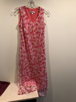 Dress Barn Lined Long Bright Pink Floral Sleeveless Dress Small Size 4. Wash and wear, perfect for summer. Is bright pink, pics are darker. Stretchy for Sale in Washington, DC