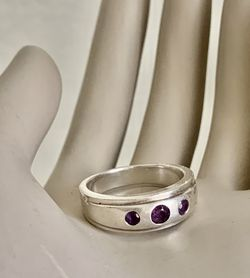 Beautiful Vintage Estate Round Natural Purple Amethyst Men's Engagement Wedding Ring Solid 925 Sterling Silver Ring Size 9.5 for Sale in Mountain View,  CA