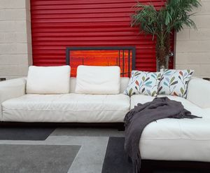 Genuine Leather Sectional Sofa with Chaise for Sale in Fort Lauderdale, FL